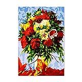 Lamlzzoo Un Bouquet de Fleurs Peony Rose Festival de Tournesol Peinture numérique colorier Son Cadeau de peintures a créé Leur Propre Main