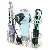 mDesign Soporte de pared para secador de pelo – Práctico estante de baño con 3 divisiones para utensilios de peluquería – Organizador de baño para secador, plancha o rizador – plateado mate
