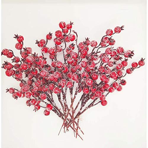 Künstliche Beeren Fake Mini Rot Holly Beeren Künstlicher Beerenzweig rote Beeren für Weihnachten Kunst Zweig Beeren für Weihnachten,Hochzeit,Handwerk und Heimornamente 12 Stück
