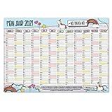 Wand-kalender 2021 Einhorn I DIN A3 Quer-Format I Süßer Jahresplaner mit Feiertagen für Büro Küche - Mädchen Frauen WG Familie I tr_018