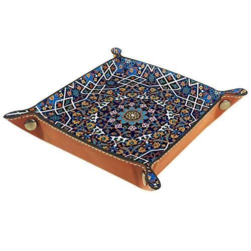 ASDFSD Iran-Tablett, PU-Leder, für Kommode, Valet Tablett für Damen, Organizer mit Schnappverschluss, Design für Würfelhalter, Uhren und Schmuck,