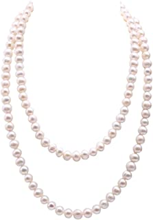 JYX Pearl Long Strand Necklace Amethyst and White Irregular Mabe Pearl and White Pearl Necklace