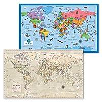 2パック - 子供用世界地図ポスター [イラスト入り] + アンティークスタイルの世界地図(ラミネート加工、18インチ x 29インチ)
