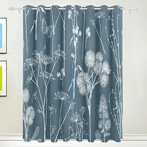 tizorax Schmetterling Pusteblume Vorhänge Verdunkeln zur Wärmedämmung Fenster Panel Drapes für Home Dekoration 139,7x 213,4cm Set von 2Panels