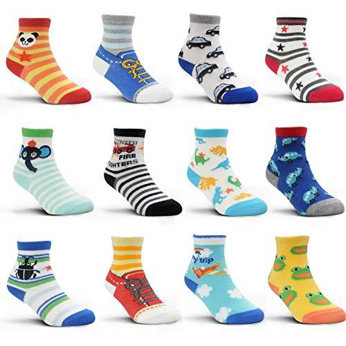 HYCLES Kinder Anti Rutsch Knöchel Socken - 12 Paar ABS Socken für 1-3 Jahre Baby Jungen Mädchen Kinder Kleinkind Säugling Neugeborenes Cartoon-Stil