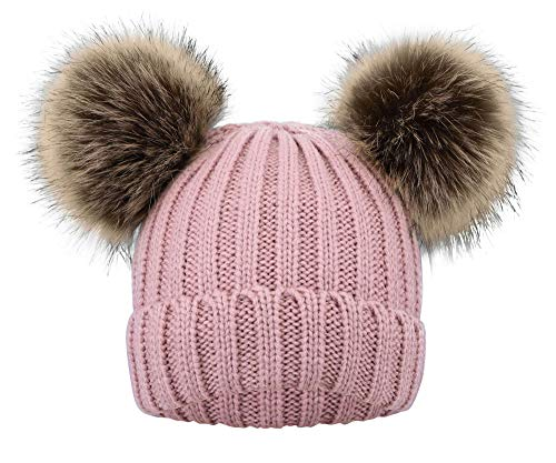 KPWIN Kids Baby Toddler Cable Knit Children's Pom Pom Ears Winter Hat Beanie (Plush Lined-Pink)