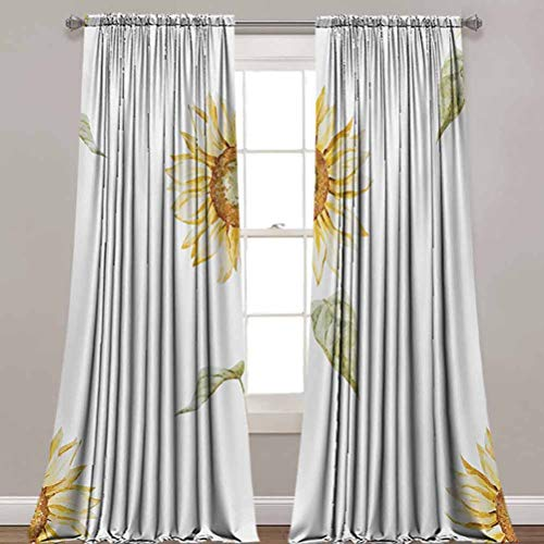 LCGGDB Sunflower Window Curtain Panels,Sunflowers with Watercolor Painting Effect and in Minimalistic Design Artwork Thermal Insulated Rod Pocket Blackout Drapes for Hall, Villa,52'x 96',2 Panels,