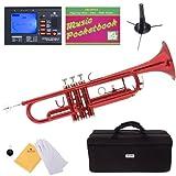 Mendini MTT-RL Red Lacquer Brass Bb Trumpet + Tuner, Case, Stand, Mouthpiece, Pocketbook & More - MTT-RL+SD+PB+92D