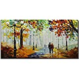 Yotree Paintings, 24x48 Inch Paintings Rainy Stree Oil Hand Painting Painting 3D Hand-Painted On...