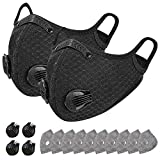 Roludom 2 Pack Anti-Pollution Riding Bandana Motorcycle, Face Cover Balaclavas for Bike Cycling Windproof, 2 Pack with 10 Filters