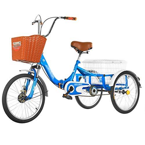 ZFF 24 Pulgadas Bicicleta Triciclo con Cestas Triciclo Ruedas 20 Pulgadas Triciclo para Adultos Una Sola Velocidad para Ejercicio Picnic Compras Recreativas (Color : Blue)