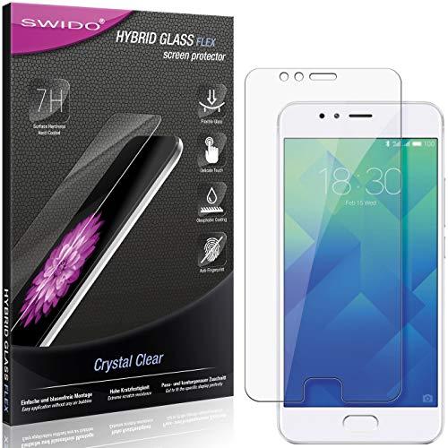 SWIDO Panzerglas Schutzfolie kompatibel mit Meizu M5s Bildschirmschutz-Folie & Glas = biegsames HYBRIDGLAS, splitterfrei, Anti-Fingerprint KLAR - HD-Clear