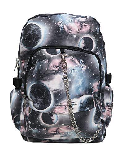 Mochila con patrón de galaxia y espacio multicolor, para la escuela, colegio; mochila gótica, rock, emo, skate