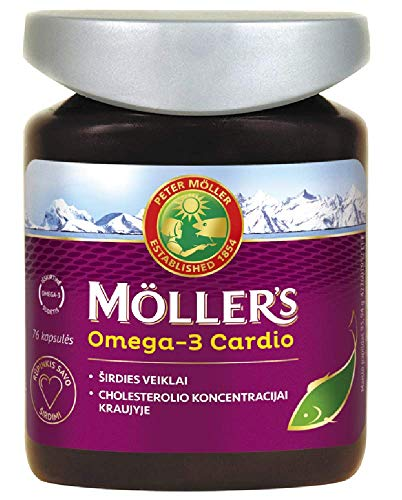 Möller's Omega-3 Cardio 76 Capsules Premium Quality Fish Oil, High Concentration of: DHA, EPA and ALA for Heart Health