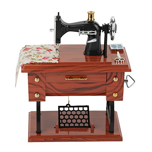 Walfront Vintage Mini Sewing Machine Retro Sewing Clockwork Music Box Gift Table Decoration Table Desk Decoration Toy Gift for Kid Children