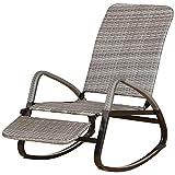 Outsunny Schaukelstuhl mit Fußstütze, Schwingsessel, Gartenstuhl, 3-Fach verstellbare Rückenlehne, PE Rattan+Metall, Grau, 80 x 64 x 108 cm