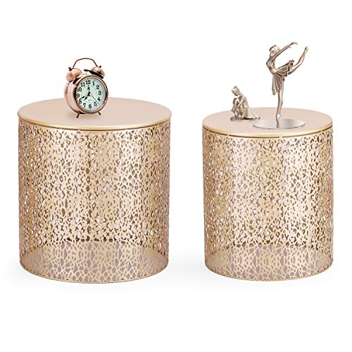 Adeco Modern Golden Accent Metal Coffee Nesting Round Side End Table, Set of 2