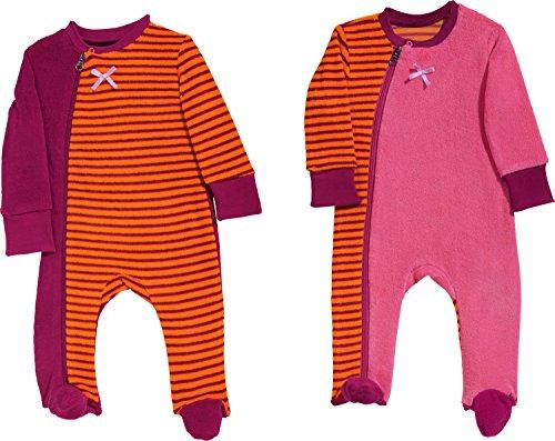 Erwin Müller Baby-Schlafanzug 2er-Pack Frottee orange/pink/beere Größe 62 / 68