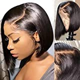 Short Straight Bob Wigs Human Hair Glueless 13x4 Lace Front Wigs for Black Women Jaja Hair Human Hair Wigs 130% Density Pre Plucked with Baby Hair 9A Lace Front Wigs Human Hair Natural Black 10 Inch