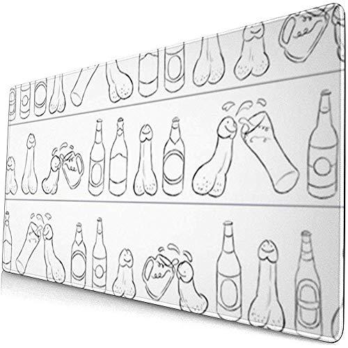 Bier Trinken auf einem Regal mit Einer Penis-Bierflasche Gaming-Mausunterlage, erweiterte große Mausmatte-Schreibtischunterlage, Lange rutschfeste Tastatur-Mausunterlage auf Gummibasis