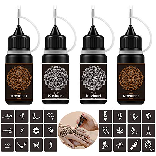 Kevinart Temporary Tattoo Kit, Semi Permanent Tattoo Jagua Freehand Gel/Ink with 24 Free Stencils, DIY Tattoos Fake Freckles, Full Accessories 4 Bottles 2 Oz (Brown Black)