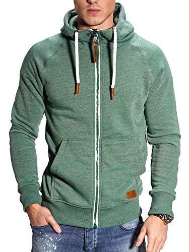 REHYPE Herren Basic Sweat-Jacke Hoodie Sweat-Shirt mit Kordel und Kapuze SW-991 Grün XXL