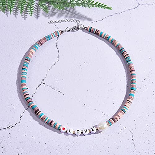 WJZB Collar de Cuentas de Arcilla polimérica Suave con Letras para Mujer Gargantilla gótica estética Boho Pearl Collier Mujer Moda joyería Hecha a Mano