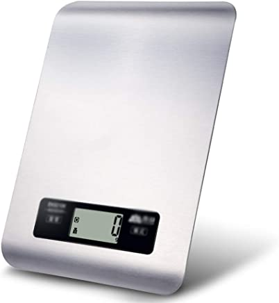Kitchen Scales - Stainless Steel, 4 Units Conversion, Touch Buttons, Stylish Home Kitchen Silver Food Mini Electronic Weighing Scale -22X17X1.2cm