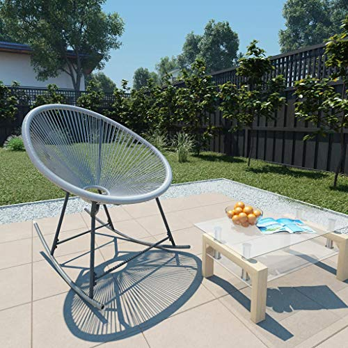Festnight Outdoor Moon Rocking Chair Garden String Moon Rocking Chair Poly Rattan Moon Rocking Chair String Rocking Chair for Outdoor Garden Patio Use, 69x66x87 cm Grey