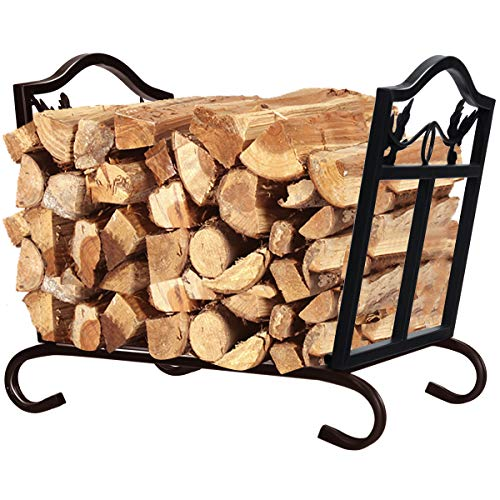 TUFFIOM 30-inch Firewood Rack with Fireplace 4 Tools Indoor Outdoor Fireside Heavy Duty Anti-Rust Durable Powder-Coated Steel Log Storage Holder for Lumber Storage Stacking