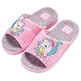Kids Family Unicorn Slippers Household Anti-Slip Indoor Home Slippers for Girls and Boys (10.5-12 Little Kid) Pink