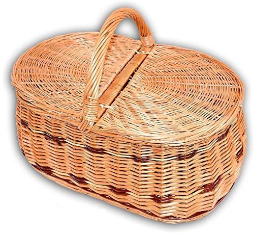 Wilpo Panier de picnic Panier d'achats Saule 45x30x33 Panier à champignons Paniers pour automobile Panier de transport Panier en saule