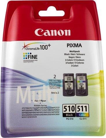 Canon PG-510/CL-511 2970B011 - Cartucho de tinta original (9 ml, 244/219 páginas), color negro y blanco