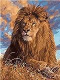 Pintura por Números DIY Acrílica Pintura Kit para Adultos y Niños Principiantes - Pintar con Numeros con 3 Pinceles y Colores Brillantes Sin Marco 40 x 50 cm Prairie Lion King