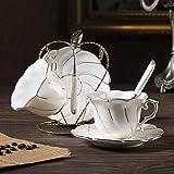 LUISONG FANMENGY - Juego de tazas de café de porcelana con borde dorado, taza de té por la tarde, azucarero, tetera para boda, gif de dos piezas