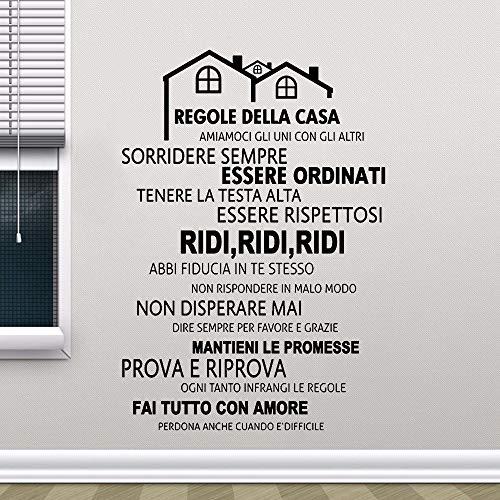 Hausordnung Vinyl Wandtattoo Wandbild Aufkleber Home Decoration Haus dekorative Wandaufkleber58 x 65 cm