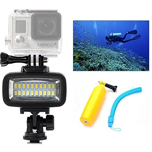Orsda Diving Light High Power Dimmabl Underwater Photography Lighting Video Diving Light 700 lumens 40M Waterproof 20 LED Diving lamp Video Light for GoPro Hero 4 3+ 3 Sports Camera Black +bar OR006F