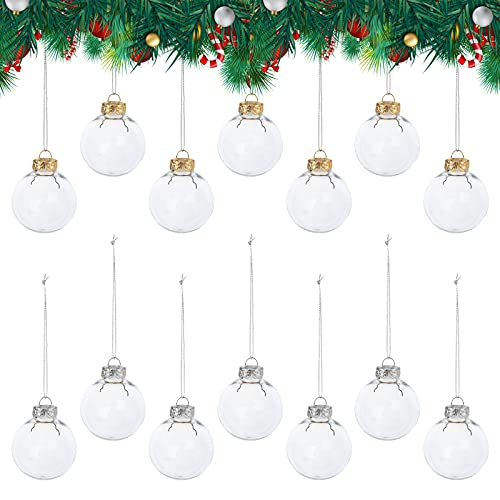 14 Piezas Bolas de Navidad Transparente Adornos Colgantes Decoraciones DIY Adornos Rellenables de Plástico Sin Costuras Inastillables para árbol de Navidad Año nuevo Decoración