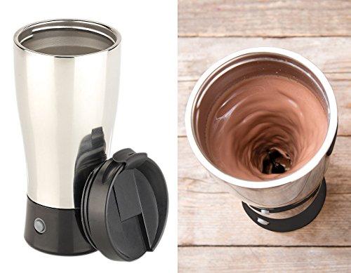 Rosenstein & Söhne Selbstrührender Becher: Selbstrührender Thermobecher mit elektrischem Quirl, 450 ml, BPA-frei (Selbstrührende Tasse)