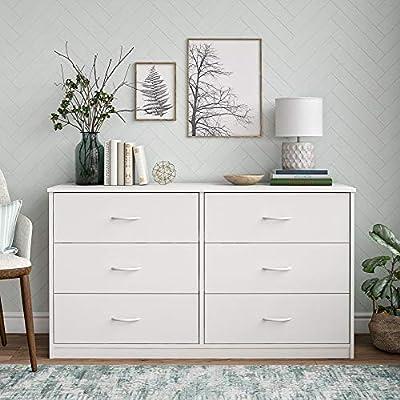 Mainstay Drawer Dresser, (A White, 6-Drawer)