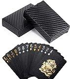 Armear Black Diamond Waterproof Playing Cards Novelty-HD,Luxury Deck of Cards,Gift Poker Cards Deck,Flexible Plastic 52+2 Poker