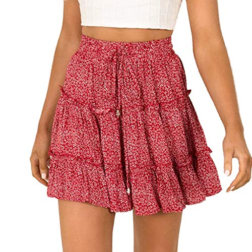 Pingtr - Damen Röcke - Frauen-Sommer-beiläufiger Bohe-hohe Taille gekräuselte Blumendruck-Strand-kurzer Rock