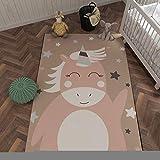 Alfombra de poliéster de tacto suave con estampado de estrellas de unicornio lindo, alfombra de juguete para bebé para sala de juegos, alfombra rectangular junto a la cama del dormitorio 50cmx80cm