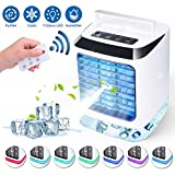 Portable USB Mini Air Cooler, Mini Air Conditioner 3-in-1 Personal Air Conditioner Fan, Humidifier, Purifier with USB and Remote Control 3 adjustable speeds 7 adjustable lights