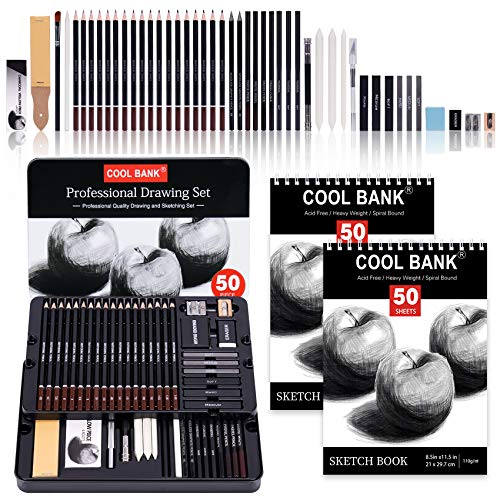 52 Piece Professional Drawing Set with 2 x 50 Page Drawing Pad, Graphite Drawing Pencils and Sketch Set, Artist Sketching Tools in Tin Box Includes Charcoals,Pastels and Sharpener-Deluxe Art Set