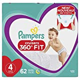 Diapers Size 4, 62 Count - Pampers Pull On Cruisers 360° Fit Disposable Baby Diapers with Stretchy Waistband, Super Pack (Packaging May Vary)