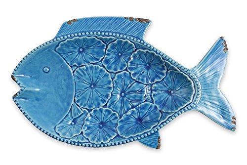 Villa d'Este Home Tivoli Marine Piatto Decorativo Pesce, Ceramica, Blu, 43x24x4.5 cm