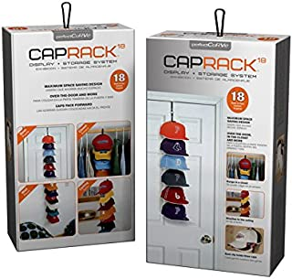 Perfect Curve Cap Rack System 18 – Baseball Cap Organizer (6 Clips Hold up to 18 caps, Black)