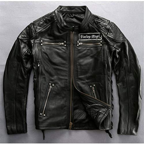 Chaqueta De Cuero Genuino De Los Hombres Collar De Pie Esqueleto Bordado Motocicleta Biker A Prueba De Viento Slim Fit Casual Outwear