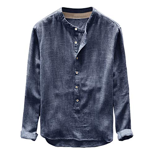 Best Price Button Casual Top Fashion Mens Autumn Winter Linen and Cotton Long Sleeve Blouse